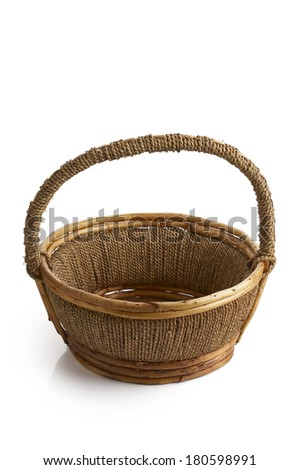 brown wooden basket on white background