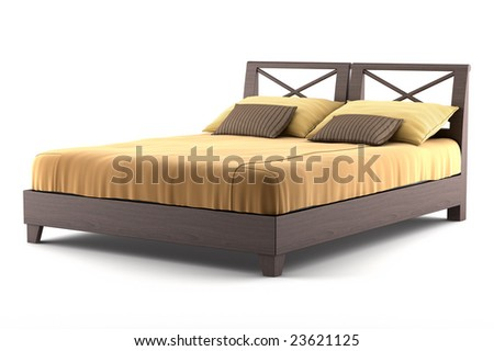 brown wooden bed isolated on white background - stock photo