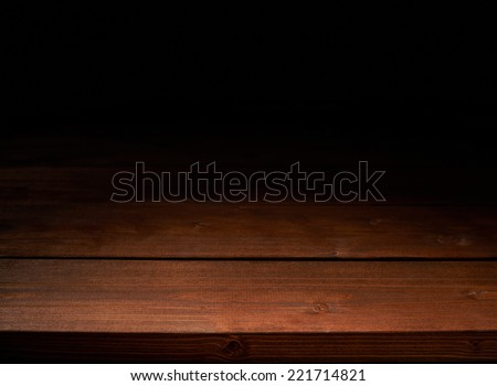 Brown wooden boards copyspace background composition, low key lighting - stock photo