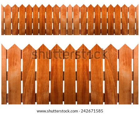 Brown wooden fence on white background