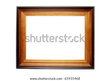 brown wooden frame for paintings white isolated