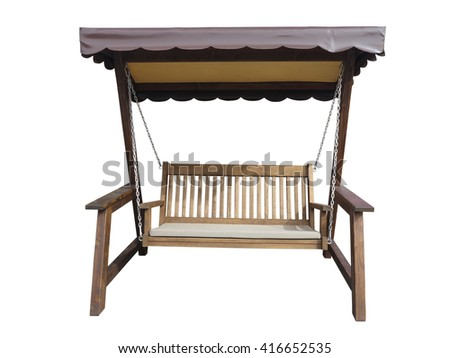 Brown wooden garden swing isolated on the white background - stock photo