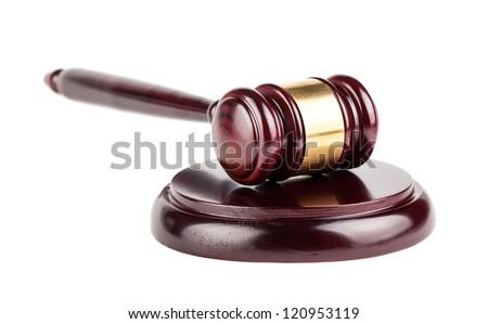 Brown wooden gavel with shadow isolated on white background - stock photo