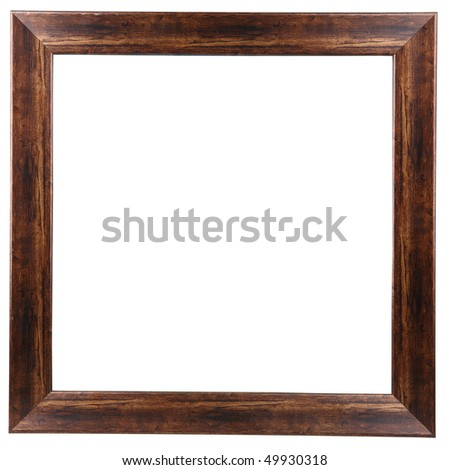 brown wooden picture frame - stock photo
