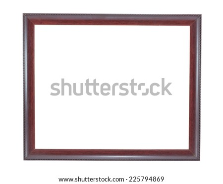 brown wooden picture frame isolated on white background
