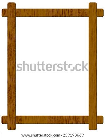 Brown wooden picture frame isolated on white background  - stock photo