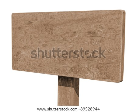 Brown wooden signboard against white background - stock photo