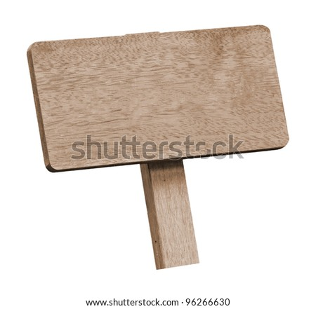 Brown wooden signboard against white background
