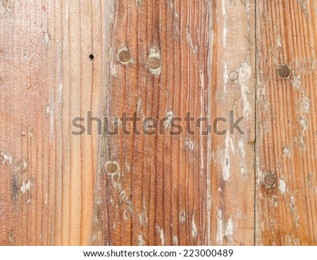Brown wooden textured, knotty panels, possible background use. - stock photo