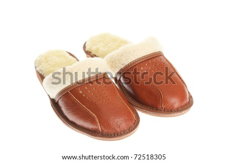brown wool comfortable slippers - house slipper isolated on white background