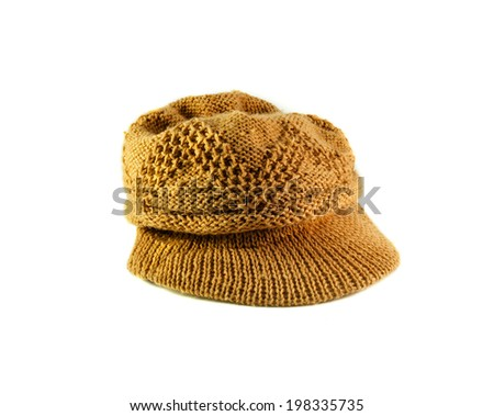 brown woolen knit hat isolated on white background
