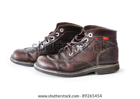 brown working boots