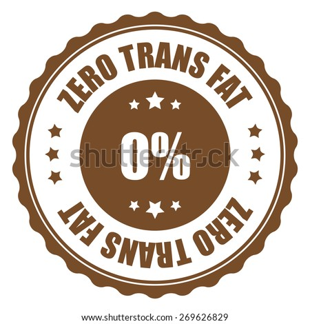 brown zero trans fat sticker, tag, sign, icon, label isolated on white - stock photo
