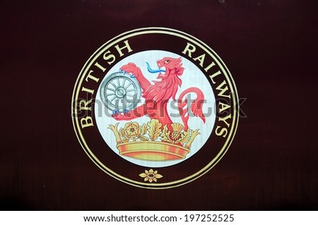 BROWNHILLS WEST, UK - MAY 17, 2014 - British Railways Lion Emblem 1956, Brownhills West Railway Station, Staffordshire, England, UK, Western Europe, May 17, 2014.