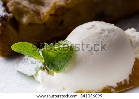 brownie and ice cream decorated with mint