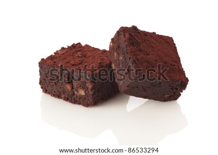 Brownie cake isolated on white background - stock photo