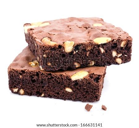 Brownie on white background - stock photo
