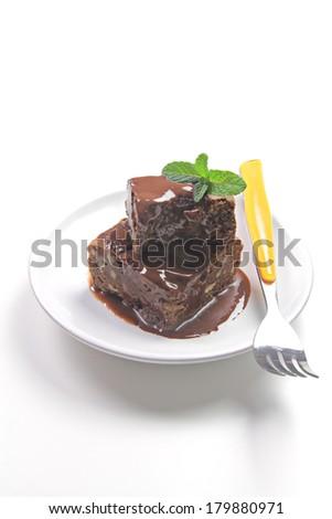 brownie with chocolate - stock photo