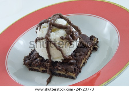 Brownie with ice cream in bowl