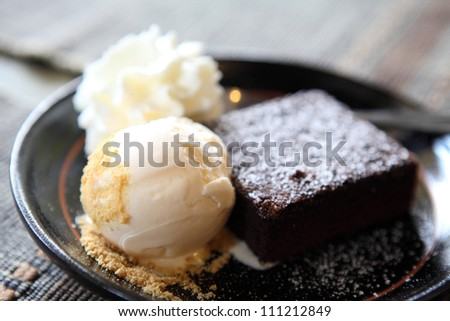 brownie with icecream - stock photo