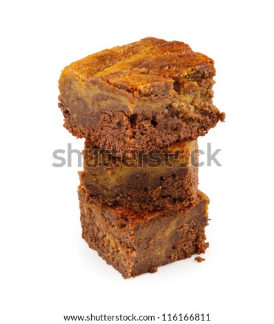 brownie with pumpkin isolated on white - stock photo