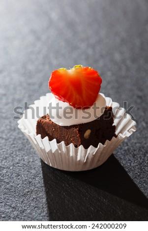 brownie with strawberry - stock photo