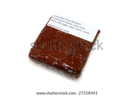 Brownie with triple green butter, a medical cannabis edibles - stock photo