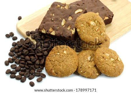 Brownies and cookies With coffee beans