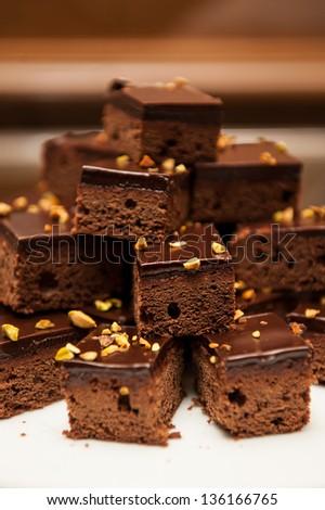 Brownies Chocolate Cake - stock photo
