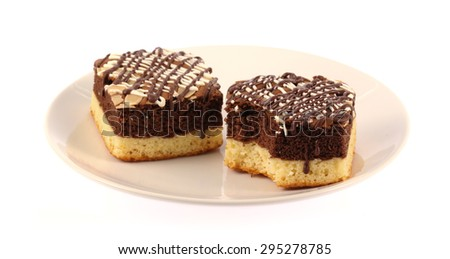 Brownies Chocolate cake in dish isolated on white background