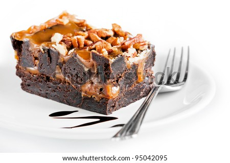 Brownies on a white plate - stock photo