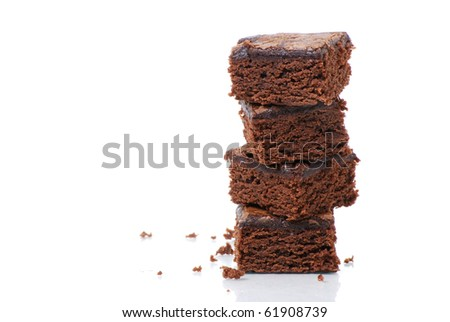 brownies on white background - stock photo