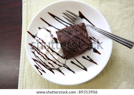 brownies on wood background - stock photo