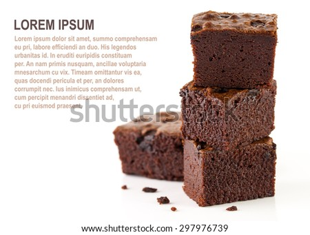 Brownies stacks isolated on white - stock photo