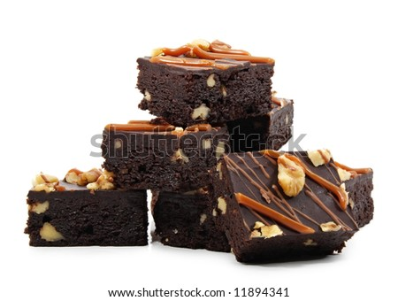 brownies with nuts, isolated on white - stock photo
