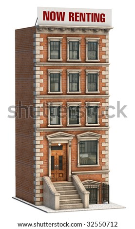 Brownstone Apartment Building On White Background Stock