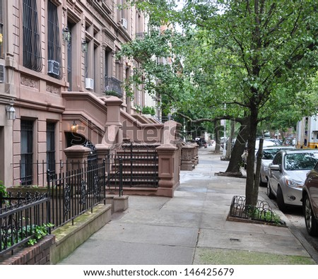 Brownstone Home Residential Neighborhood - stock photo
