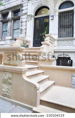 Brownstone Limestone Home Steps Entrance Urban Neighborhood New York City Manhattan - stock photo
