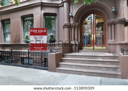 Brownstone Residence For Sale Urban Residential Neighborhood USA - stock photo