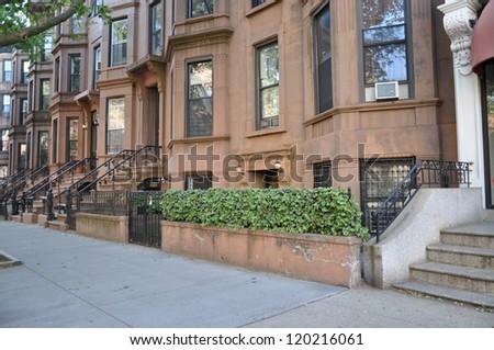 Brownstone Residential Neighborhood Homes - stock photo