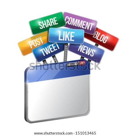 browser and social media and services sign illustration design over white - stock photo