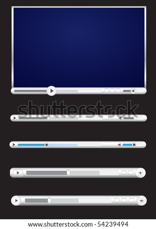 Browser video player isolated on the black background - stock photo
