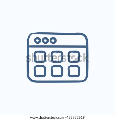 Browser window with folders vector sketch icon isolated on background. Hand drawn Browser window with folders icon. Browser window with folders sketch icon for infographic, website or app. - stock photo