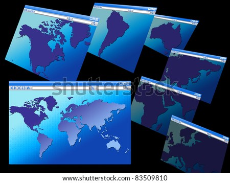 Browser windows maps various continents world stock illustration browser windows with maps of various continents and the world binary code background concept gumiabroncs Image collections