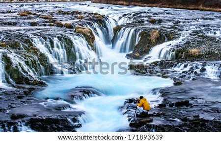 Bruarfoss,Iceland with the photographer during sunset - stock photo