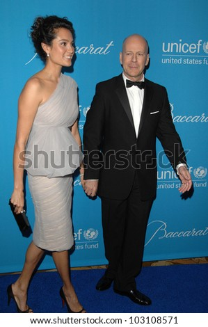Bruce Willis and wife Emma Heming at the 2009 UNICEF Ball Honoring Jerry Weintraub, Beverly Wilshire Hotel, Beverly Hills, CA. 12-10-09