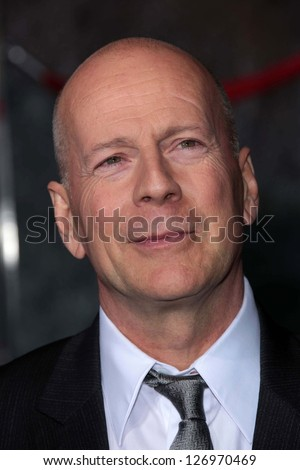 "Bruce Willis at the ""A Good Day To Die Hard"" Mural Unveiling, Fox Studio Lot, Century City, CA 01-31-13"
