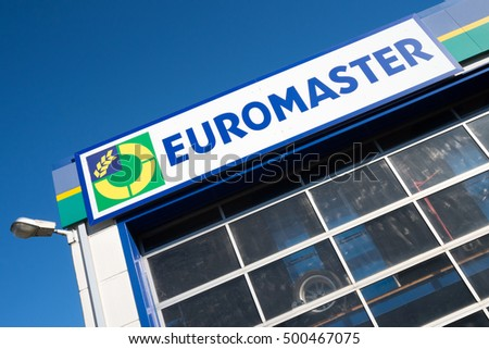 BRUEHL, GERMANY - October 16, 2016: Euromaster sign at garage. Euromaster offers tire services and vehicle maintenance across Europe and is a subsidiary of the tire maker Michelin.