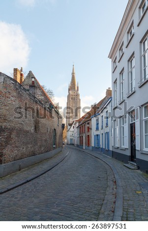 Bruges, Belgium - December 25, 2014: Ancient medieval streets in the historic center of Bruges. One of the attractions of the city.
