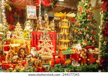 Bruges, Belgium - December 24, 2014: Decorated for Christmas shop window in Bruges. - stock photo